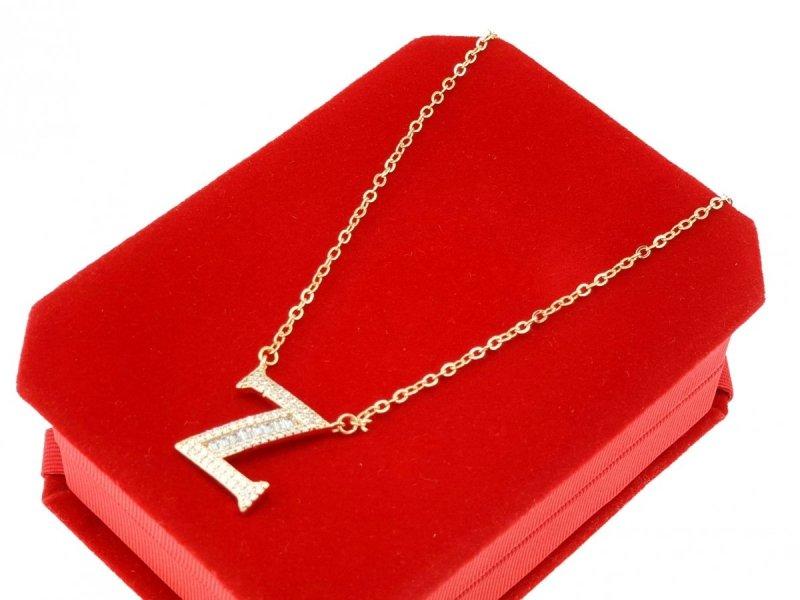 3686 Złoty łańcuszek celebrytka literka Z naszyjnik pozłacany