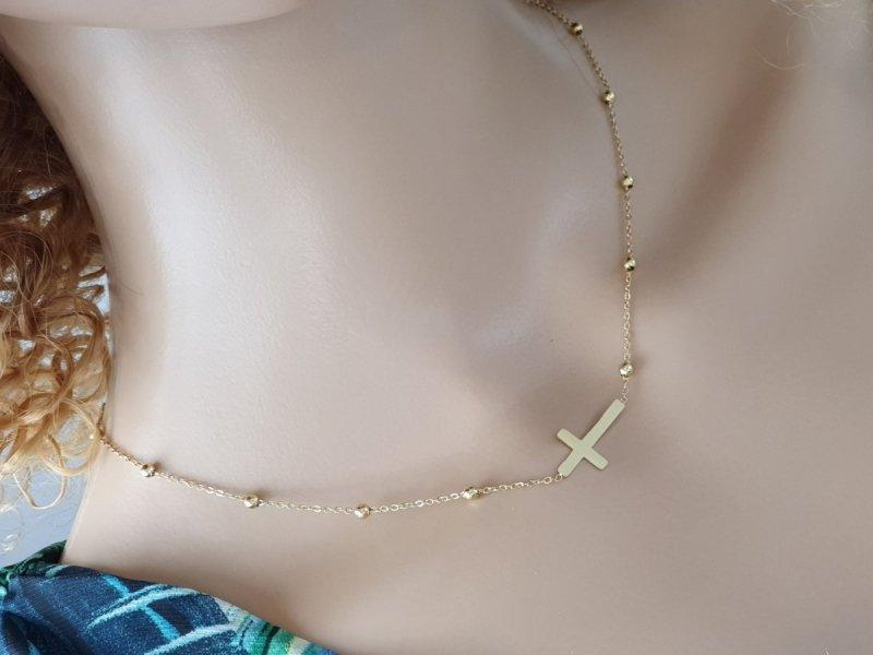 580 Złoty łańcuszek celebrytka naszyjnik stal chirurgiczna