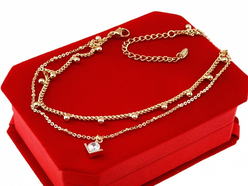 2952 Bransoletka złota na nogę pozłacana 18k Xuping