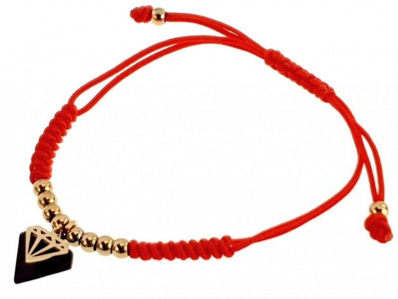 1162L Bransoletka złota celebrytka stal sznurek  chirurgiczna
