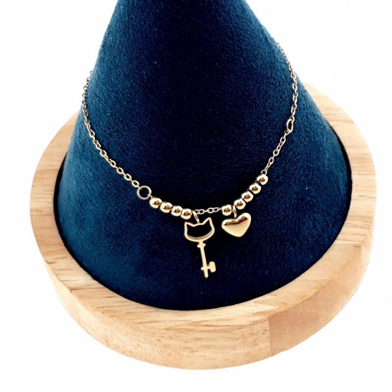 1609 Bransoletka złota 21cm celebrytka stal chirurgiczna