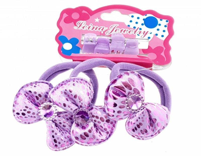 3563 Komplet dziewczęcy gumki i spinki  do włosów