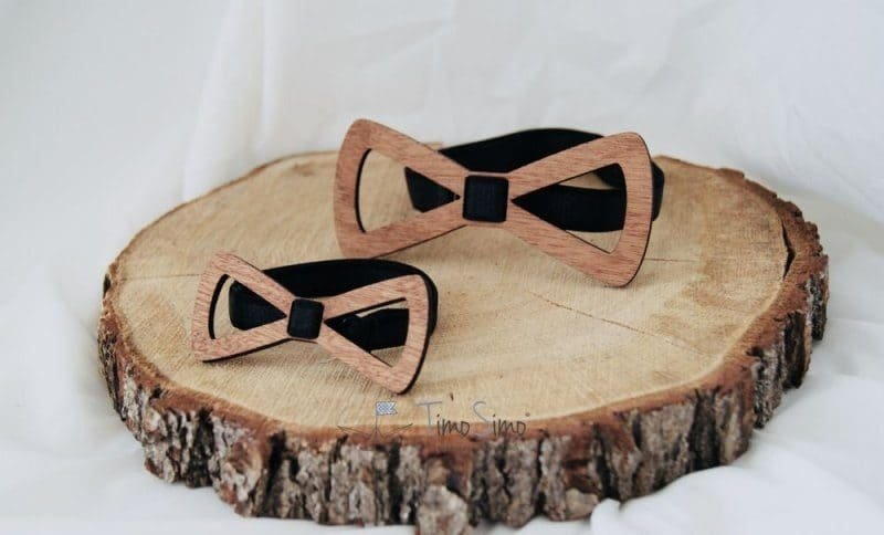 Zestaw muszek drewnianych Tata-Syn