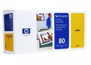 GŁOWICA HP 80 YELLOW ORYGINALNA + CLEANER C4823A