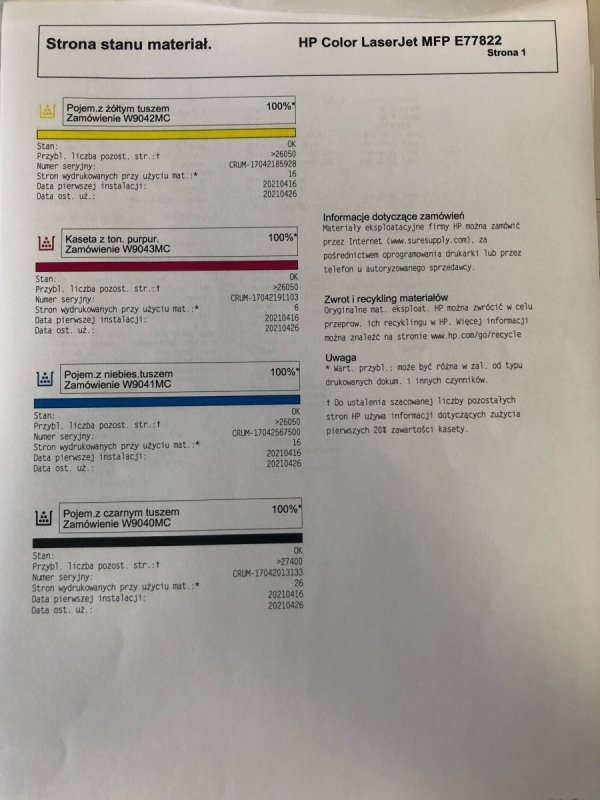 HP Color LaserJet Managed MFP E77822 powystawowe A3