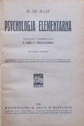 H. de Raaf • Psychologia elementarna [1920]