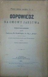 Pismo ulotne jarskie 1885 • Odpowiedź na omowy jarstwa czyli wegetaryanizmu panów Omikrona, St. Kramsztyka i A. Mg. z Kraju