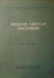 Archivum Iuridicum Cracoviense vol. XI-1978 • [Kazimierz Opałek, Borucka-Arctowa, Wróblewski, Osuchowski, Kopff]