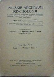 Polskie Archiwum Psychologji nr 3/1930