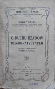 Adolf Prins • O duchu rządów demokratycznych