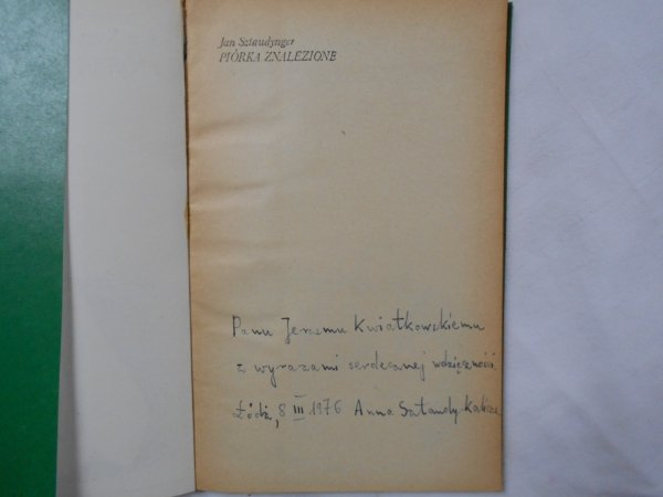 Jan Sztaudynger • Piórka znalezione