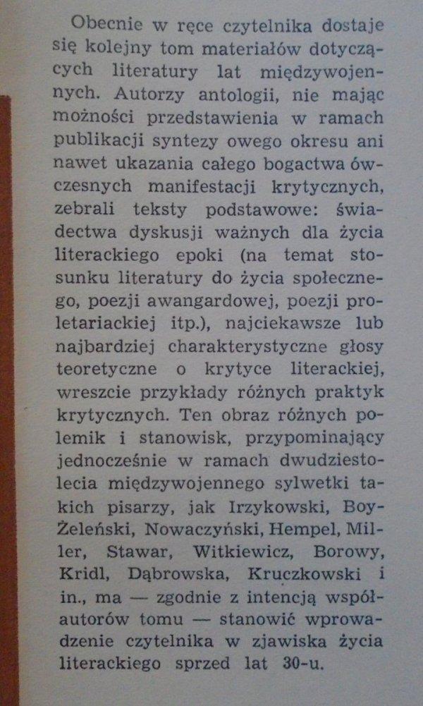 Polska krytyka literacka 1919-1939. Materiały