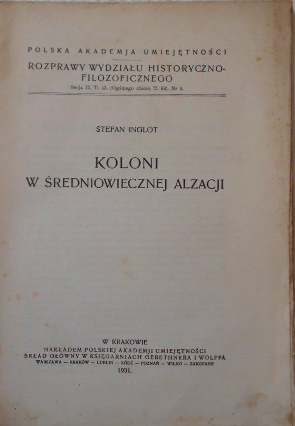 Stefan Inglot • Koloni w średniowiecznej Alzacji