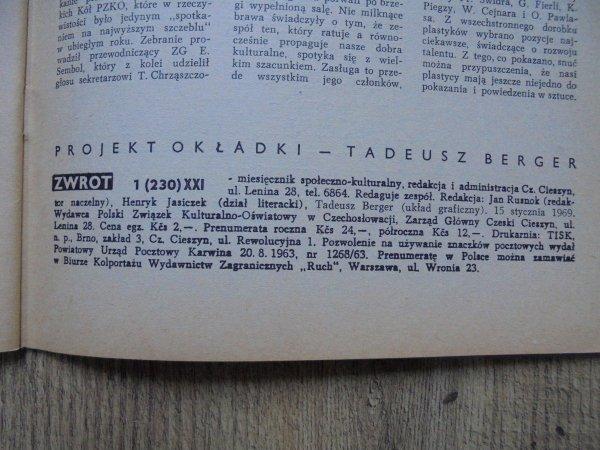 Miesięcznik Społeczno-Kulturalny 'Zwrot' 1/1969 [Tadeusz Berger]