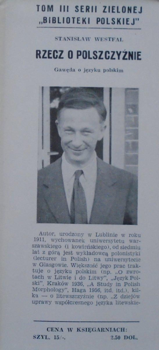 Stanisław Westfal • Rzecz o polszczyźnie. Gawęda o języku polskim [Veritas 1956]