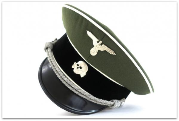 MC001 OFICERSKA CZAPKA GALOWA SCHIRMMUTZE WAFFEN-SS PIECHOTA - GABARDYNA