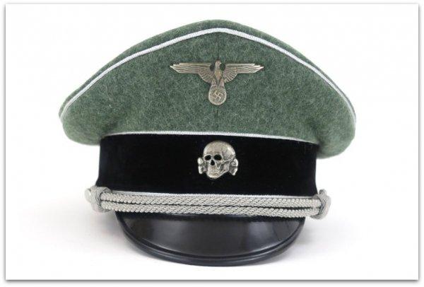 MC030 CZAPKA SCHIRMMUTZE STARSZY OFICER PIECHOTA WAFFEN-SS - SUKNO