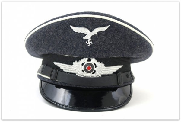 MC018 PODOFICERSKA CZAPKA SCHIRMMUTZE LUFTWAFFE BLAUGRAU - SUKNO