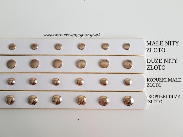 Pasek skóra połączona z łańcuszkiem - gładki, nitowany lub oczkowany
