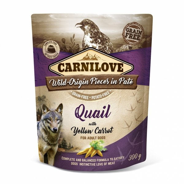CARNILOVE DOG POUCH QUAIL&YELLOW CARROT 300g