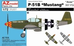 AZmodel AZ7516 P-51B Mustang 357.FG Aces 1/72