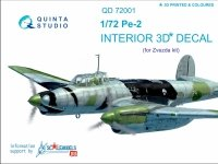 Quinta Studio QD72001 Pe-2 3D-Printed & coloured Interior on decal paper (for 7283 Zvezda kit) 1/72