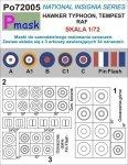 P-Mask PO72005 MASKI DO MALOWANIA OZNACZEŃ HAWKER TYPHOON, TEMPEST RAF (1:72)