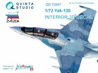 Quinta Studio QD72007 Yak-130 3D-Printed & coloured Interior on decal paper (for Zvezda kit) 1/72