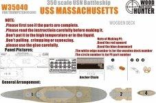 Wood Hunter W35040 Wood deck USS Massachusetts for Trumpeter (1:350)