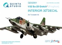 Quinta Studio QD32001 Su-25 3D-Printed & coloured Interior on decal paper (for Trumpeter kit) 1/32