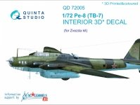 Quinta Studio QD72005 Pe-8/TB-7 3D-Printed & coloured Interior on decal paper for Zvezda 1/72