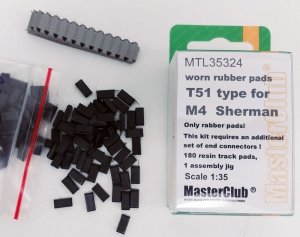 MasterClub MTL-35324 Worn rubber pads T51 type for M4 Sherman/M3/RAM  1:35