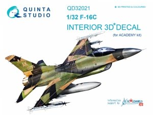Quinta Studio QD32021 F-16C 3D-Printed & coloured Interior on decal paper (for Academy kit) 1/32