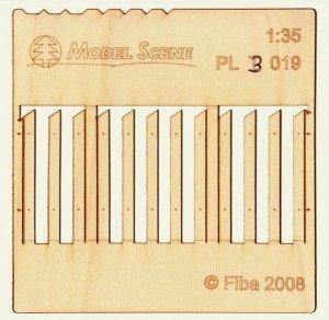 Model scene PL3-019 Wooden fence type 19 Drewniany płot 1/35
