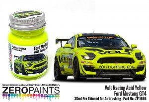Zero Paints 1666 Volt Racing Acid Yellow for Ford Mustang GT4 30 ml