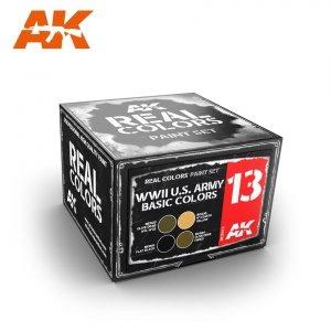 AK Interactive RCS013 WWII U.S. ARMY BASIC COLORS SET (4x10ml)