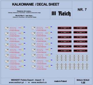 Weikert Decals DEC207 Ostatnie dni wojny - oznaczenia na Panzerfaust, insygnia Volkssturm - vol.7 1/35