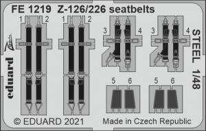 Eduard FE1219 Z-126/226 seatbelts STEEL EDUARD 1/48