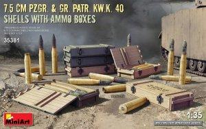 MiniArt 35381 7.5cm PzGr. & Gr. KwK 40 Shells w/ Ammo Boxes 1/35