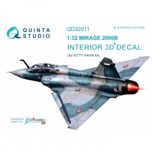 Quinta Studio QD32011 Mirage 2000B 3D-Printed & coloured Interior on decal paper (for Kitty Hawk kit) 1/32