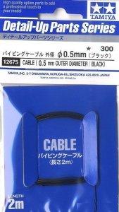 Tamiya 12675 Cable OD 0.5mm black Length 2m
