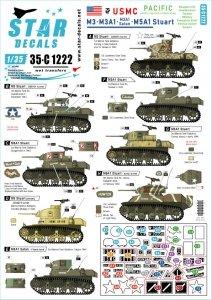 Star Decals 35-C1222 M3, M3A1, M3A1 Satan and M5A1 Stuart. US Marine Corps 1/35