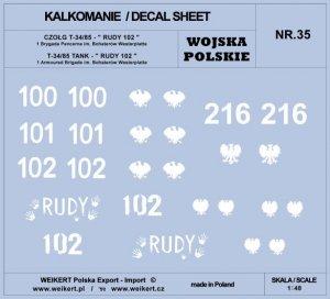Weikert Decals DEC235 WOJSKO POLSKIE - CZOŁG T-34/85, RUDY 102 i inne / 1 i 2 Armia Polska 1/48