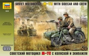 Zvezda 3639 Soviet Motorcycle M-72 with sidecar and crew (1:35)