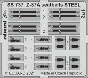 Eduard SS737 Z-37A seatbelts STEEL for EDUARD 1/72
