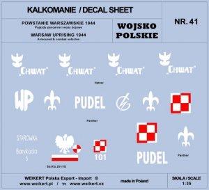 Weikert Decals DEC241 Powstanie Warszawskie 1944 - Pojazdy pancerne; wozy bojowe 1/35