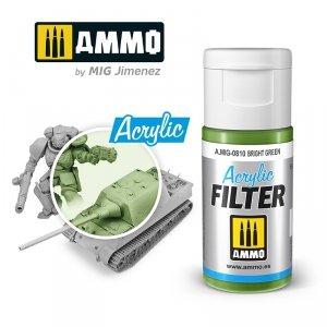 Ammo of Mig 0810 ACRYLIC FILTER Bright Green 15 ml
