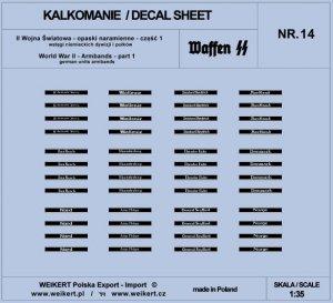 Weikert Decals DEC214 Opaski naramienne - wstęgi niemieckich dywizji i pułków ver.1 - vol.14 1/35