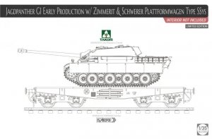 Takom 2125X Jagdpanther G1 Early Production w/Zimmerit & Schwerer Plattformwagen Type SSys 1/35