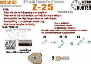 Wood Hunter W35035 Wood deck German Zerstorer Z-25 for Trumpeter 05321 1/350